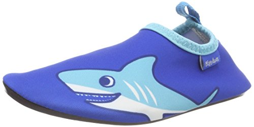 Playshoes Unisex-Kinder Badeslipper Aqua-Schuhe Hai, Blau (blau), 24/25 EU