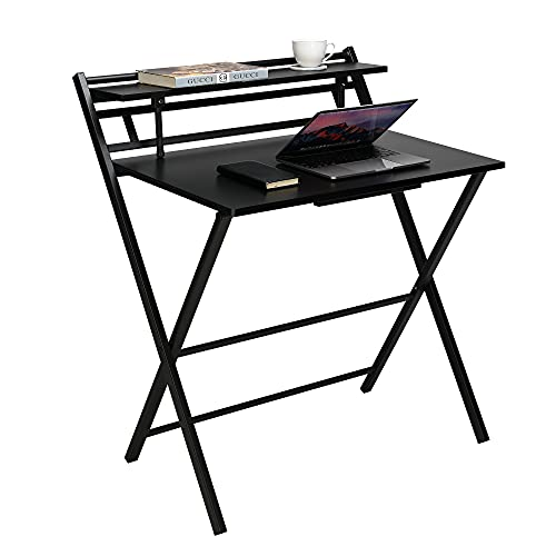 Computer Office Desk for Home Working, Folding Gaming PC Table Workstations for Small Spaces, Black X-shaped Study Writing Furniture 80 * 66 * 93cm
