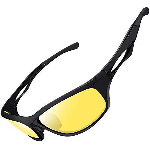 Joopin Night Vision Glasses Men Women, Sports Night Driving Glasses Sunglasses Anti Glare UV Protection (Black Yellow)