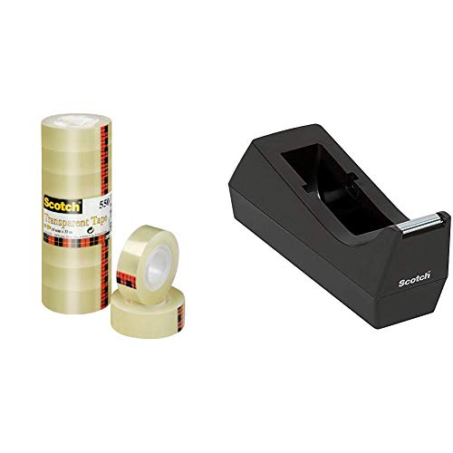 3M Scotch Nastro Adesivo Trasparente Acrilico, 19 mm x 33 m, 8 Pezzi & Scotch Dispenser Ricaricabile per Nastro Adesivo da 19 mm x 33 m, Porta Scotch per Ufficio, Nero