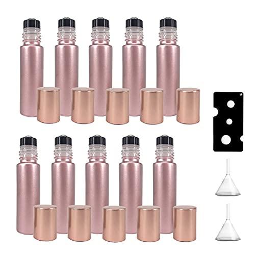 10 Botellas de Rodillo de 10 ml para aceites, Botellas de Perfume, Botella Enrollable para aceites Esenciales, Botella de Rodillos Botellas de Vidrio vacías de Aceite Esencial Rollon (Oro Rosa)
