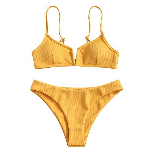 ZAFUL - Bikini de dos piezas para mujer con corte alto y acolchado con cable en V