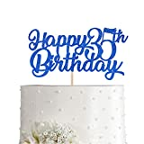 Blue Happy 35th Birthday Cake Topper, Royal Blue Glitter Cheers To 35 Years Party Cake Decorations, Supply