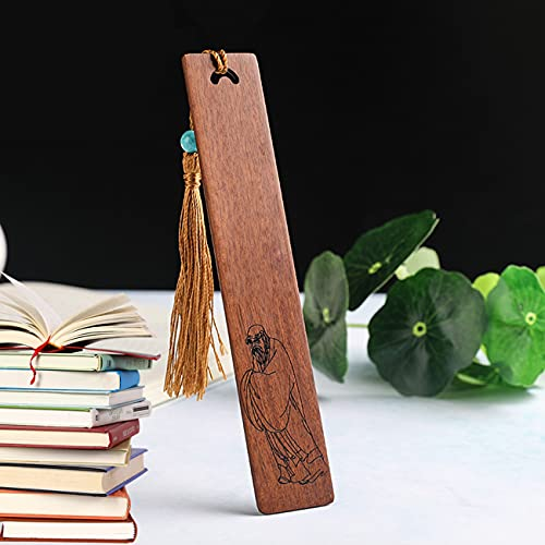 Ashtray Dao Religion China Lao Tzu Bookmark, Interesting Solid Wood Bookmarks with Tassels, for Birthday Gifts, Graduation Gifts