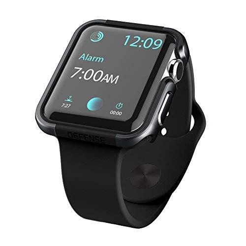 qichenlu [Defense Edge Schwarz&Schwarz CNC Eloxiertes Aluminium Rahmen Case kompatibel mit Apple Watch 44mm,Uhr Gehäuse Schutz Cover Stoßfest Metall Bumper Hülle kompatibel mit Apple Watch 44mm