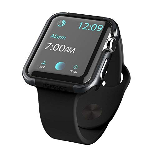 qichenlu [Defense Edge Schwarz&Schwarz CNC Eloxiertes Aluminium Rahmen Case für Apple Watch 44mm,Uhr Gehäuse Schutz Cover Stoßfest Metall Bumper Hülle kompatibel mit Apple Watch 44mm