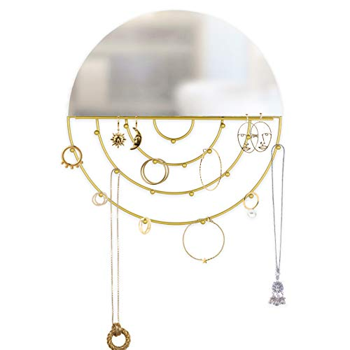 Kimisty Boho Wall Hanging Round Gold Mirror with Jewelry Holder Modern Decorative Necklace Hanger Circle Makeup Mirror and Boho Jewelry Organizer Decor