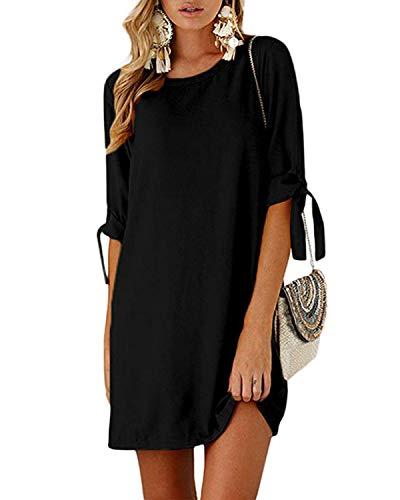 Kidsform Sommerkleid Damen Casual Langes T-Shirt Kleid Lose Tunika Kurzarm Rundhals Minikleid mit Bowknot Ärmeln, XL=EU42, Schwarz