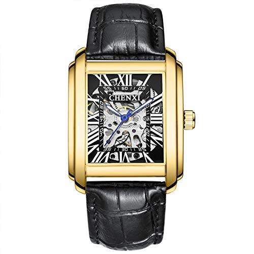CXJC Mehrfarben-Karre mechanische Uhr, leuchtende Wasserdicht Multifunktions-Männer, schwarzer Lederarmband (Color : Gold+Black)