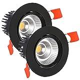 SPAHER 2x Foco Empotrable Techo LED, 5W COB led Downlight Spot,500LM 6000K Blanca Frio, AC 220-240,80Ra,IP44,Recorte de 65-80 mm,Redondo Luz de Techo para Dormitorio, Baño,Cocina(Negro)