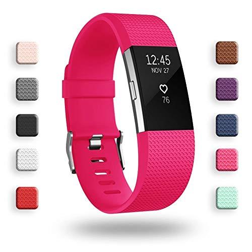 Cinturini di ricambio per Fitbit Charge 2, cinturino di ricambio per accessori morbidi, fermaglio di metallo sicuro Fitbit Charge 2 (5,5'-6,7') - Rosa rossa