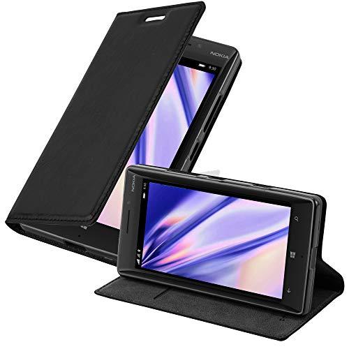 Cadorabo Hülle für Nokia Lumia 929/930 - Hülle in Nacht SCHWARZ – Handyhülle mit Magnetverschluss, Standfunktion und Kartenfach - Case Cover Schutzhülle Etui Tasche Book Klapp Style