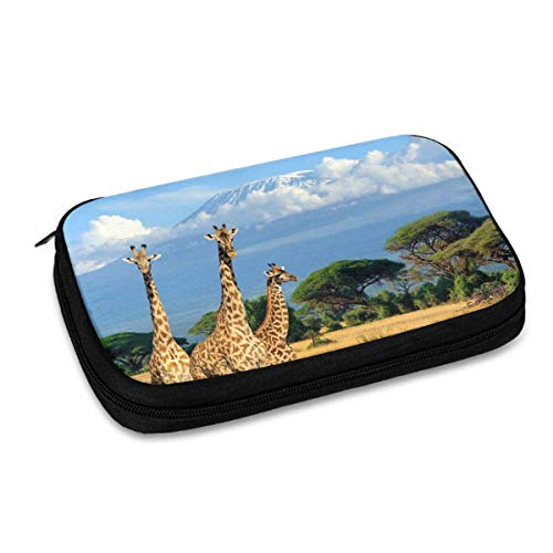 Electronics Organizer Three Giraffes in Kilimanjaro Great Electronic Accessories Cable Organizer Bag Travel Cable Storage Bag for Cables, Laptop Charger, Tablet (Up to 9.4'')