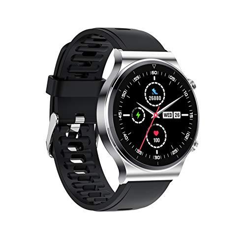 Mtong Reloj inteligente con llamada Bluetooth para hombre, IP68, impermeable, pantalla táctil completa, deportivo, fitness, cara personalizada para Android IOS (color plateado sílice)