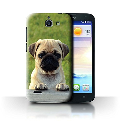 Hülle Für Huawei Ascend G730 H&/Eckzahn Rassen Entzückender Mops/Pug Design Transparent Ultra Dünn Klar Hart Schutz Handyhülle Case
