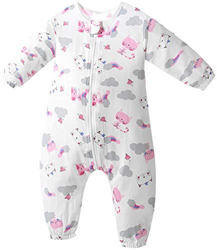 Chilsuessy Baby Sommerschlafsack mit Beinen 1 Tog Kleine Kinder Ganzjahres Schlafsack mit Füßen Langarm Schlafanzug aus 100% Baumwolle, Katze, L/Baby Höhe 90-100cm