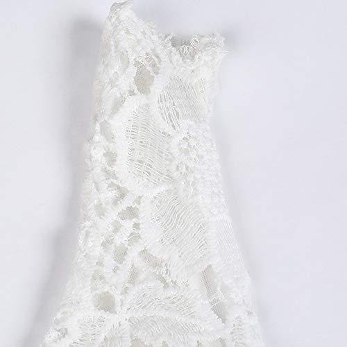 Lenfesh Mujer Vestido de Noche Vestidos De Fiesta Blanco Vestido Elegantes de Cóctel con Cuello en V Vestido para Bodas Sin Mangas Talla Grande