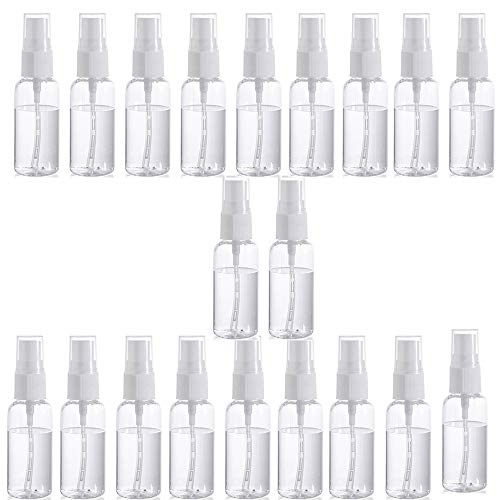 Bouteille de pulvérisation de brume en plastique transparent 20 PCS, bouteille de voyage transparente, bouteille de pulvérisateur de pulvérisation rechargeable portable (30/50/100 ml)