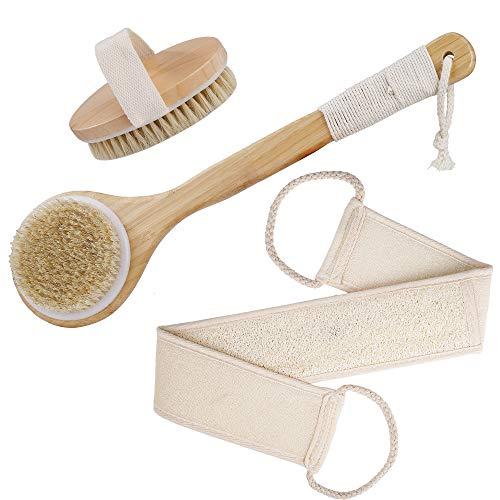 Cuerpo Cepillo, Cepillo Espalda Ducha Mango Largo Bambu, Suave Natural Cerdas Cepillo Limpiar Espalda y Euerpo, Exfoliación Cepillo de Masaje Corporal, Reducir la celulitis