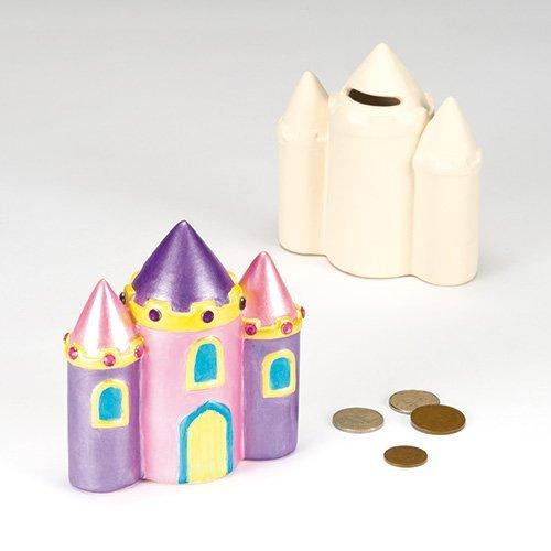 Keramische Kasteel Muntbanken met Verwijderbare Stopper voor Kinderen te schilderen en te verfraaien (Pack van 2)