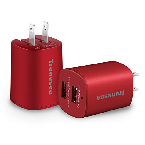 Tranesca Dual USB Wall Chargers for New iPhone SE,iPhone Xs/Xs Max,iPhone XR/8/7/6S/6S Plus/6 Plus/6, Samsung Galaxy S7/S6/S5 Edge, LG, HTC, Moto, Kindle and More-2 Pack (Red)