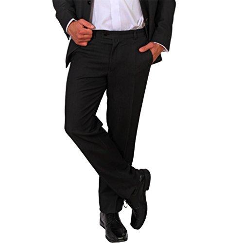 Unbekannt Herren Büro Hose Klassisch Schwarz Anzughose Bundfaltenhose Lang Business (Schwarz, 60)