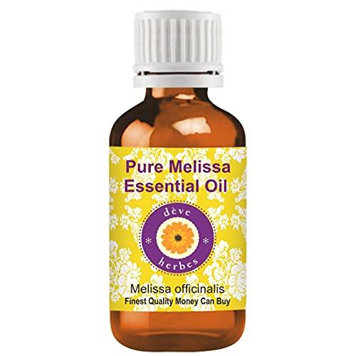 Deve Herbes Pure Melissa Essential Oil (Melissa officinalis) con gotero europeo de plástico interno 100% grado terapéutico destilado al vapor para cuidado personal 30ml (1.01 oz)