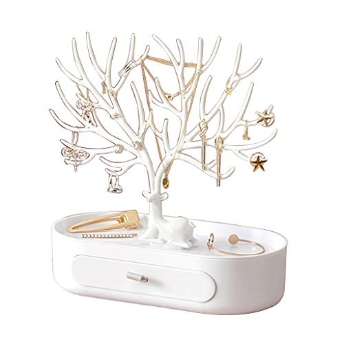 JIUYECAO Caja de almacenamiento ligera de lujo de gama alta, color blanco, caja de almacenamiento de joyería para pendientes, collar, anillo, pulsera y cajas de exhibición