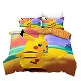 Juego de funda de edredón, diseño de Pokemon Pikachu en 3D, suave y cómodo, funda de edredón para niños, tamaño super king 260 x 220 cm + 2 fundas de almohada de 50 x 75 cm.