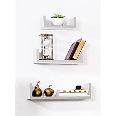 Adorn Home Essentials Floating Shelves Set of 3 with Modern U Shape and Durable Design by, Simple Hanging Kit Included (White)