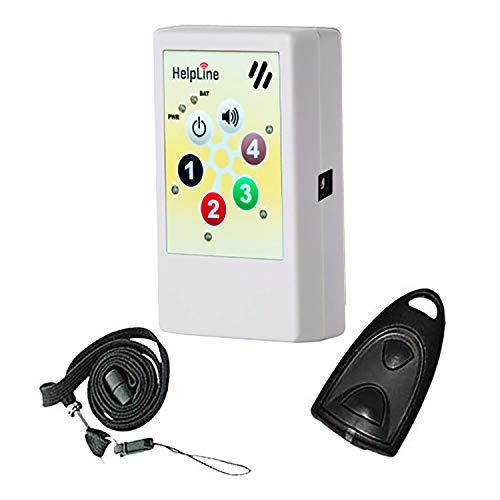 HelpLine2.0: Portables Hausnotrufgerät mit Funk-Notruf-Halsband, Mobiler-Pflege-Alarm für zuhause und unterwegs, Pflegeruf-Set, tragbares Notrufsystem mit angenehmen Ruftonmelodien