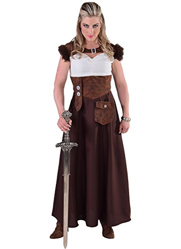 narrenkiste M216172-M braun Damen Wikinger Kleid Barbarin Gr.M