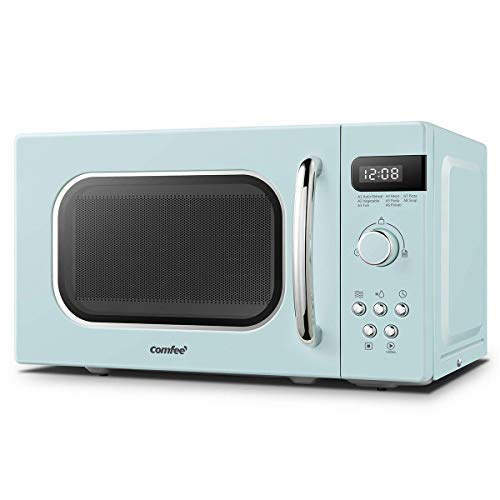 COMFEE' Retro Style 800w 20 Litre Microwave Oven with 8 Auto Menus, 5 Cooking Power Levels and Express Cook Button - Mint Green -CM-M202RAF(GN)