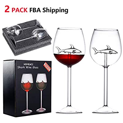 HOMEACC 2 Packs Shark Wine Glass Goblets With Box-Fun Novelty for Wine Lovers Party Flutes Glass Great For A Fancy Party Christmas,Halloween And Celebration …