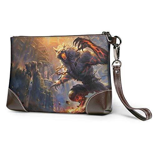 Anime Game Werewolf Leather Corner Zip Wrist Women's of Man Leather Wristlet Clutch Wallet, Phone Wristlet Purse Signature Wallett