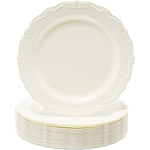 Wedding Dinnerware, Cream Plastic Plates for Parties, Birthdays (9 x 9 In, 25 Pack)