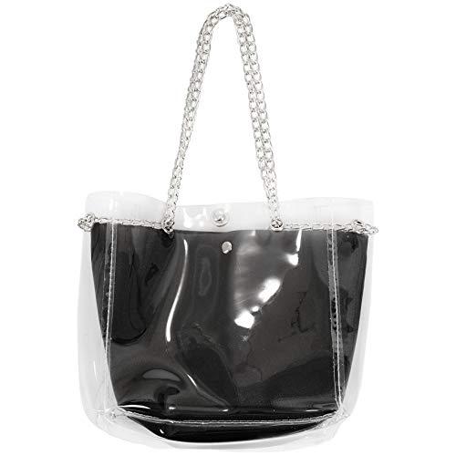SNOWINSPRING - Bolso de plástico transparente para mujer, color blanco, Negro (Negro ), Taille Unique