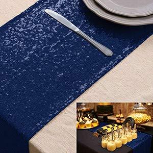 "Camino de mesa con lentejuelas camino de mesa azul 12 ""x72"" camino de mesa de comedor decoración del hogar secuencia de lino superposición de mesa azul marino decoración de fiesta"