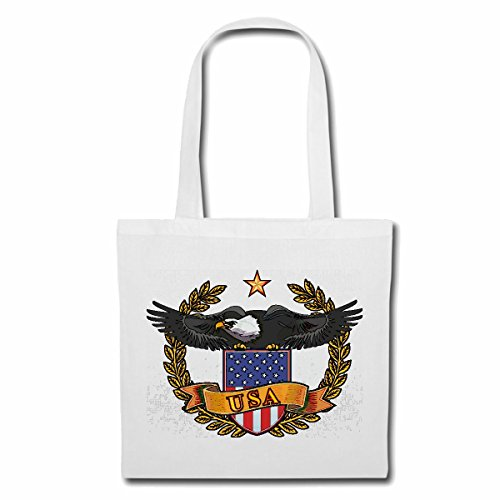 Tasche Umhängetasche USA FLAGGE MIT ADLER GEIER GEIER GREIFVOGEL RAUBVOGEL STEINADLER GREIFVOGEL WEISSKOPFSEEADLER Einkaufstasche Schulbeutel Turnbeutel in Weiß
