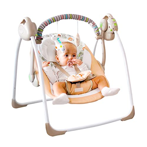 Baby Electric Soothing Swing, Baby Portable Swing with Intelligent Music Vibration Box,Comfort Rocking Chair Load Resistance: 55lb, Applicable Object: 0-12 Months for Infants.