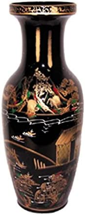 ADI 7551 Oriental Mountain Village Landscape with Black Background and Gold Hand Painting 16 product image