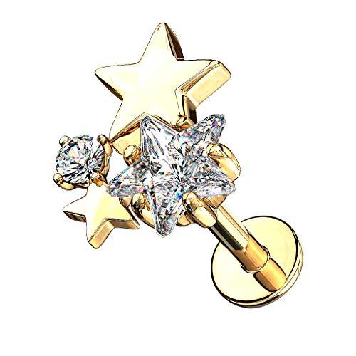 Piercingfaktor Piercing Stab mit Kristall Sterne Lippe Ohr Labret Tragus Helix Knorpel Stecker Lippenpiercing Ohrpiercing Gold 8mm