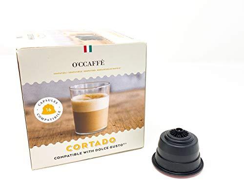 O'CCAFFÈ – Cortado | Nescafé Dolce Gusto kompatible Kapseln | 96 Kapseln | Kaffee aus extra langsamer Trommelröstung aus italienischem Familienbetrieb