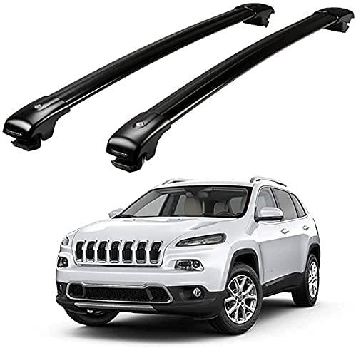 Alluminio Portapacchi Barre Traversale per Jeep Cherokee 2014-2018, Robusti portapacchi Traversa viaggio e campeggio Sostituzione di rack ad alta resistenza agli urti