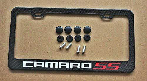 Armertek Camaro SS Carbon Fiber-Look License Plate Frame Cover Stainless Steel (Never Faded) Black for Chevy (1)