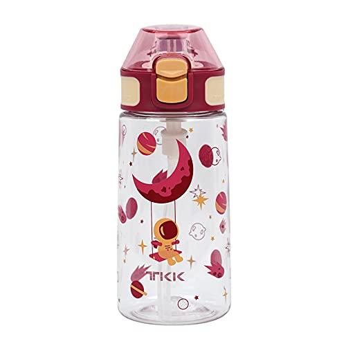 YIXINYOUPIN Taza de plástico de paja para niños portátil linda pequeña taza de agua Tritan tipo botella de agua botella de agua con boquilla roja 450 ml