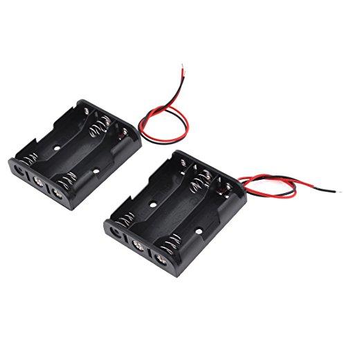 tellaLuna 2 unidades de cable negro rojo de plástico 3 x 1.5V AA pilas titular de la caja de la célula