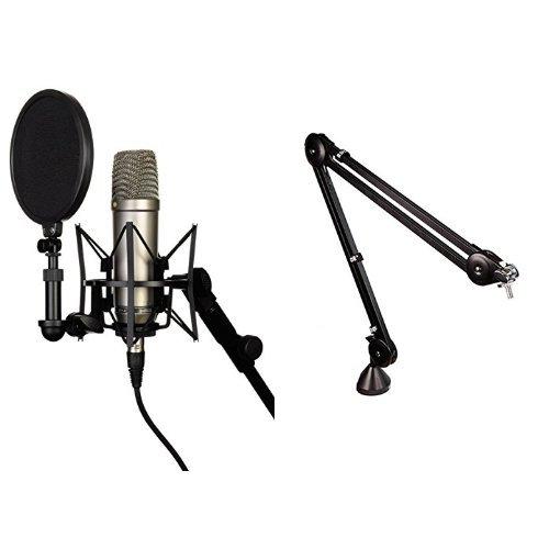 Rode NT-1A  Großmembran-Kondensatormikrofon mit goldbedampfter und elastisch gelagerter 2,5 cm (1 Zoll) Nierenkapsel + Røde PSA1 Gelenkarmstativ Bundle