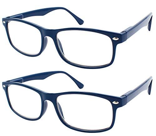 TBOC Gafas de Lectura Presbicia Vista Cansada - (Pack 2 Unidades) Graduadas +4.00 Dioptrías Montura de Pasta Azul Diseño Moda Hombre Mujer Unisex Lentes de Aumento para Leer Ver de Cerca