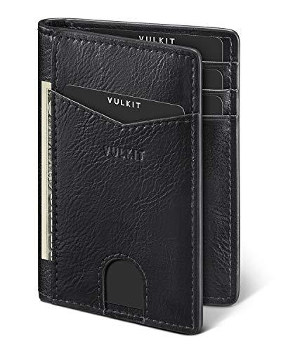 VULKIT Portafoglio Uomo Piccolo Sottile RFID/NFC Blocco Porta Carte di Credito in Pelle Mini Porta Tessere con 10 Slot per Carte e Banconota - Nero (2020)